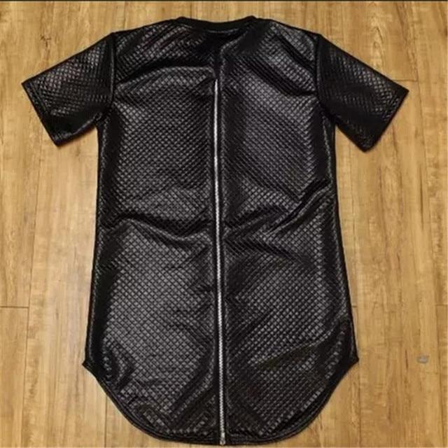 Hip Hop Street T-shirt noir à carreaux en cuir fermeture à glissière arrière T-shirt pour homme