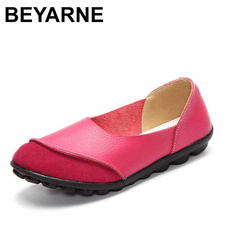 2018 New Women's Casual Shoes Soft Genuine Leather Female Flats Non-Slip Woman Loafers Leisure Slip-On Boat Shoe Plus Size 35-43 men cow split leather shoes casual loafers soft and comfortable oxfords non slip flats luxury brand designer shoe zapatos hombre