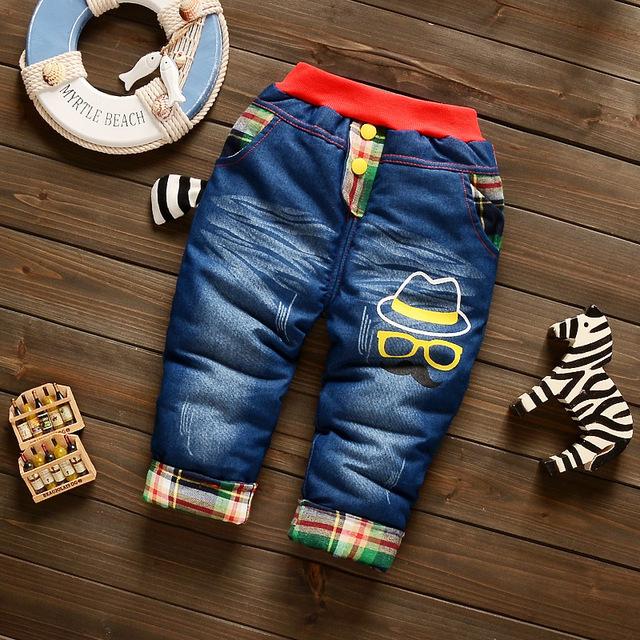 Nuevo Otoño 2016 Pantalones Del Bebé de Invierno de La Manera Encantadora Del Muchacho Recién Nacido Engrosamiento de Algodón Pantalones de Los Niños Ropa de Bebé 7-24 M