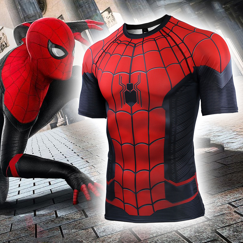 Spider-Man: Far From Home T-shirt Spider-man Costume Sport Tights Man Adult Top Spider Superhero Cosplay Costumes Quick-dry Лосины