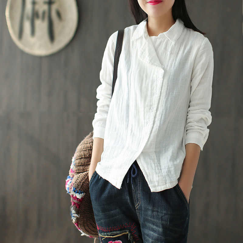 ヴィンテージ女性の綿リネン長袖ブラウストップ白色固体スキュー襟女性のトップスやブラウス夏春女シャツ