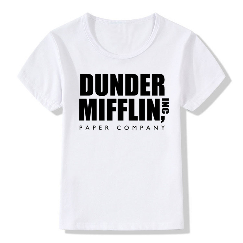 Cheap Sale Boys&girls The Office Tv Show Dunder Mifflin Paper T-shirt Children Summer Casual T Shirt Kids Tops Baby Clothes,hkp446