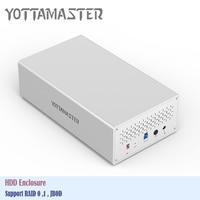 Yottamaster Tool Free Aluminum 2 Bay USB3.0 Raid Hard Drive Enclosure 5Gbps SATA3.0 for 3.5 inch HDD Support 20TB & UASP HDD Box