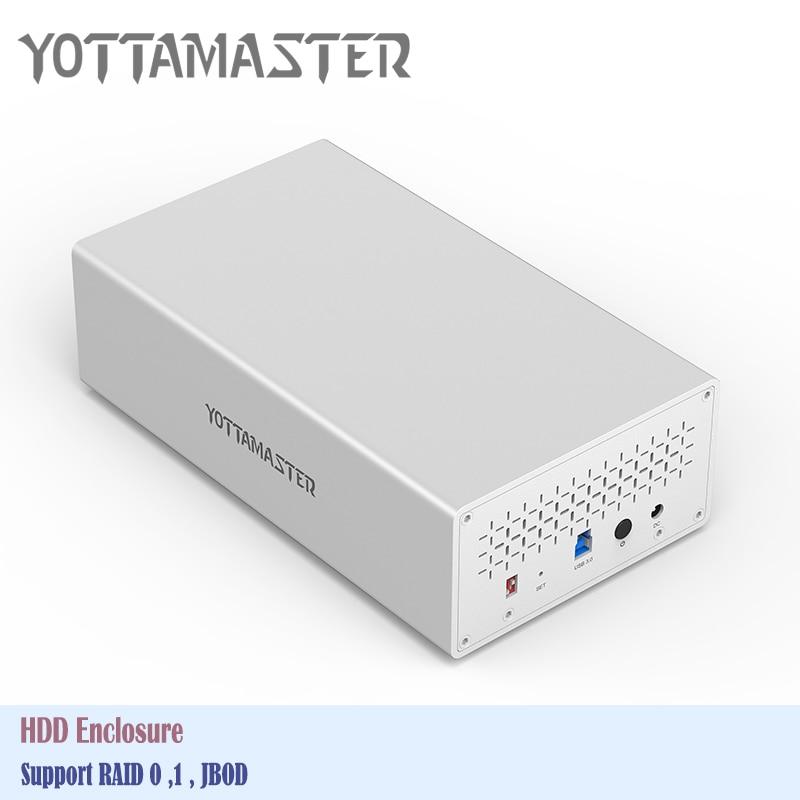 Yottamaster outil libre aluminium 2 baie USB3.0 Raid boîtier de disque dur 5 Gbps SATA3.0 pour 3.5 pouces HDD Support 20 to & UASP HDD Box-in Boîtier de disque dur from Ordinateur et bureautique on AliExpress - 11.11_Double 11_Singles' Day 1
