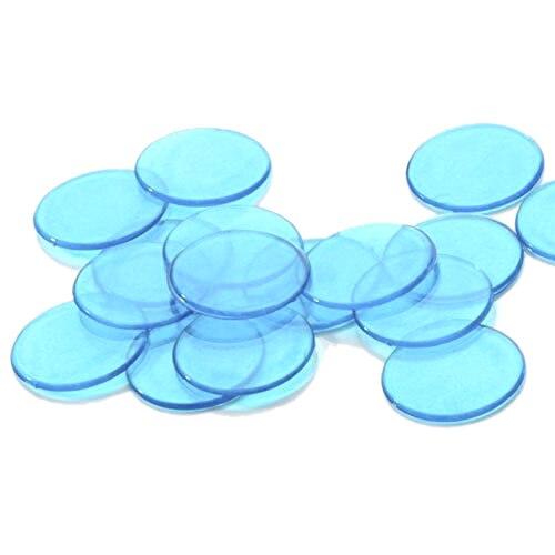 5Set Sale Approx.100Pcs 3/4 Inch Plastic Bingo Chips, Translucent Design, for Classroom and Carnival Bingo Games Blue