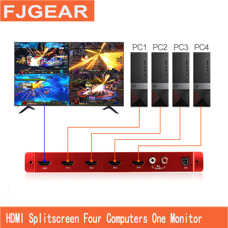 HDMI Picture Splitter 4 in 1 out HD Computer Seamless Display 4 Screen Switcher Four Way Splitter With remote control цена