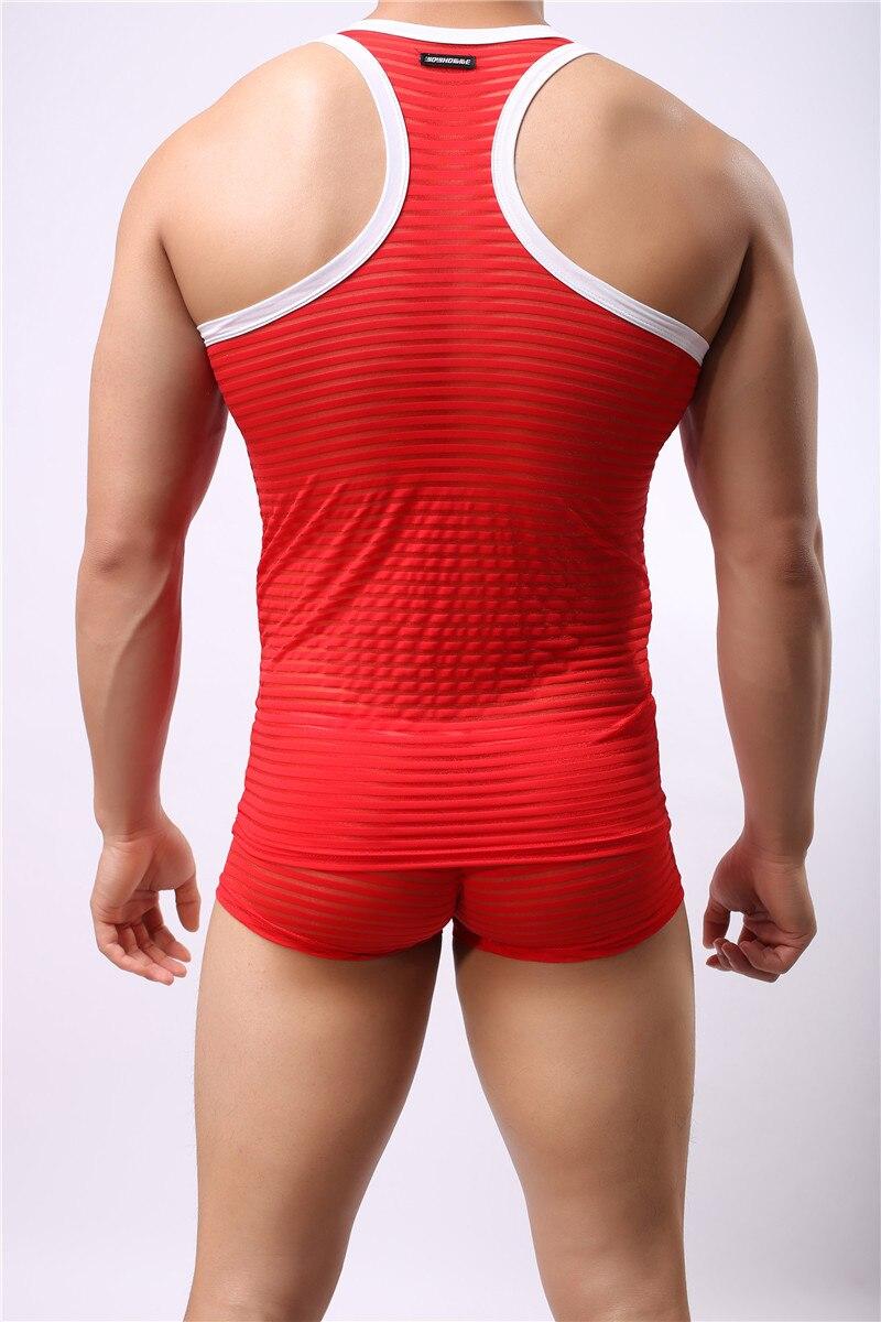 Мужские сексуальные забавные дышащие полосатые майки Нижние рубашки прозрачный сетчатый жилет Новая мода 6 цветов не включает брюки m-xl