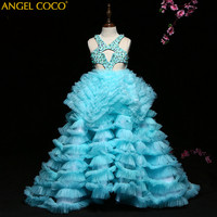 Luxury Formal Teenage Girls Party Dresses Brand Baby Girl Clothes dress Girls Blue Long Costume Princess Party Dresse Ball Gown