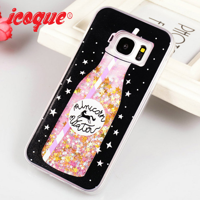 601323ff796 ICOQUE Cases For Samsung Galaxy S7 Case Glitter Liquid Girl Cute Luxury  Girl Quicksand Silicon Case for Samsung S7 Cover Women
