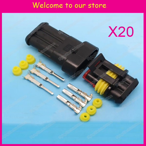 20sets 3P auto waterproof automotive Wire Connector Plug 3 Pins ...