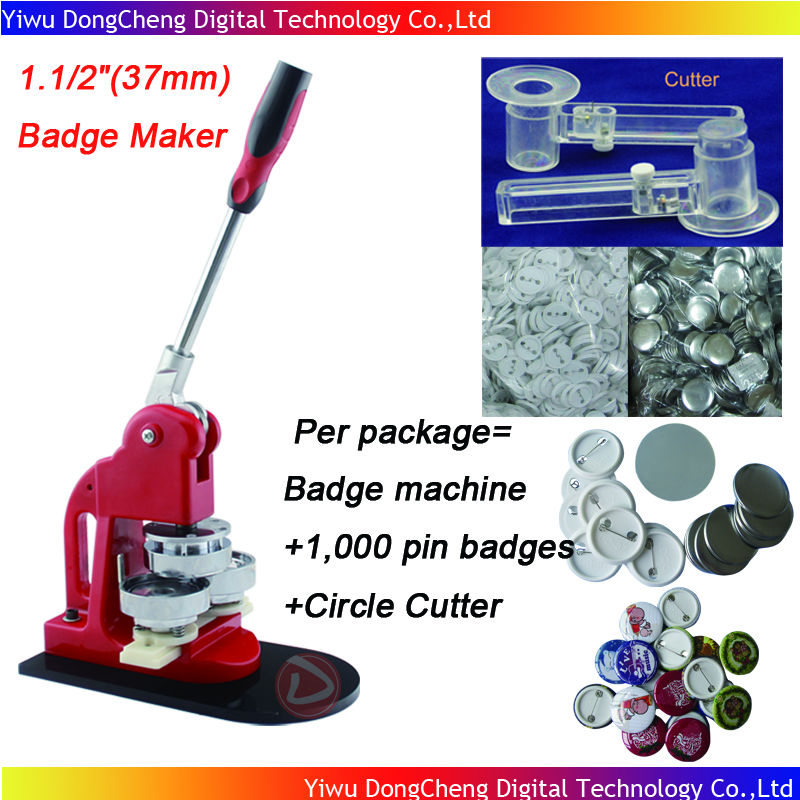 Wholesale 2013 Free Shipping 1.1/2(37mm) Badge Button Machine + Adjust Circle Cutter+1,000 Plastic Pin Badge Material badge machine suppliers 1 1 4 32mm badge machine with 1000set pin buttons circle cutter button making machine pack