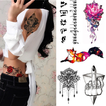 42 unids/set arte corporal impermeable temporal tatuaje adhesivo colorido misterioso Luna gato patrón de León belleza tatuaje corporal DIY