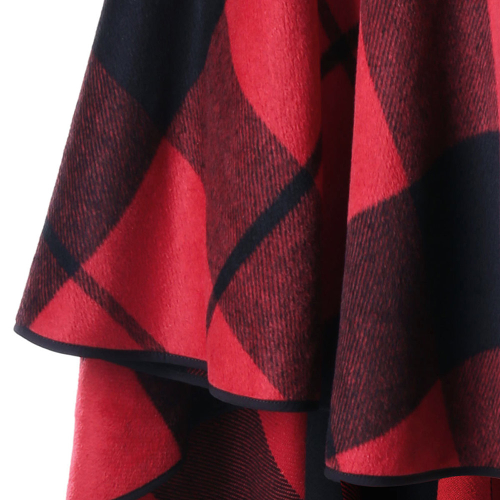 VESTLINDA Plus Size Plaid High Low Hooded Cloak Fashion Women Hooded Capes Autumn Winter Red Black Cape Coat Trench Coat 5XL 4XL 5
