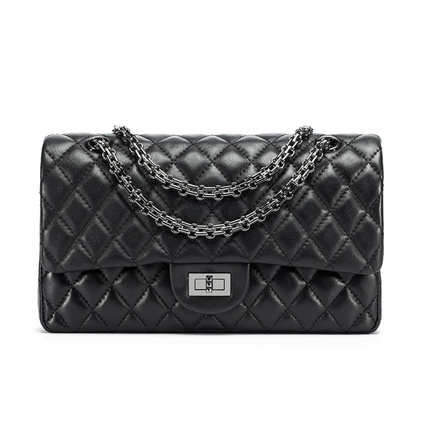 Womens Classic Design Genuine Leather Flap Bag Quilted Chain Bag