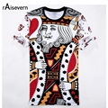 Raisevern 2017 New Summer 3D T Shirt Playing Cards King Print 3D T-shirt Men/women Harajuku Tee Shirt Clothes Camisa Tops