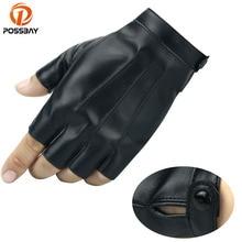 POSSBAY Waterproof Black Leather Motorcycle Gloves Vintage Retro Cafe Racer Half Finger Winter Summer Man Women Protection Glove