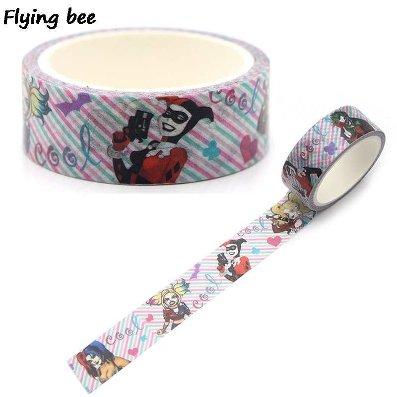 Flyingbee 15mmX5m Suicide Squad Harley Quaid Washi Tape Paper DIY Decorative Adhesive Tape Kawaii Masking Tapes Supplies X0319