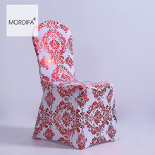 Chirstmas Damask Chaircover Spandex Gold Print Chair Cover Banquet Hotel Covers For Feast Wedding