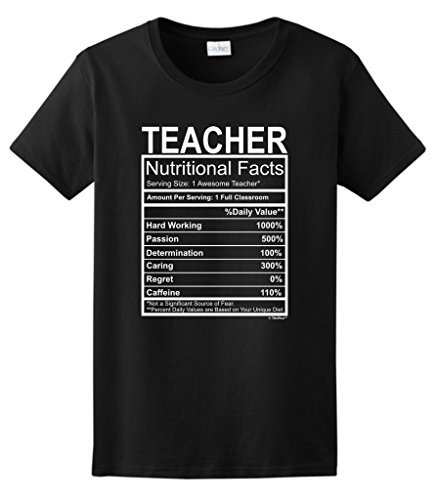 Short-Sleeve Novelty O-Neck Womens Teacher Gift Nutritional Facts Gag Gifts Funny T Shirt
