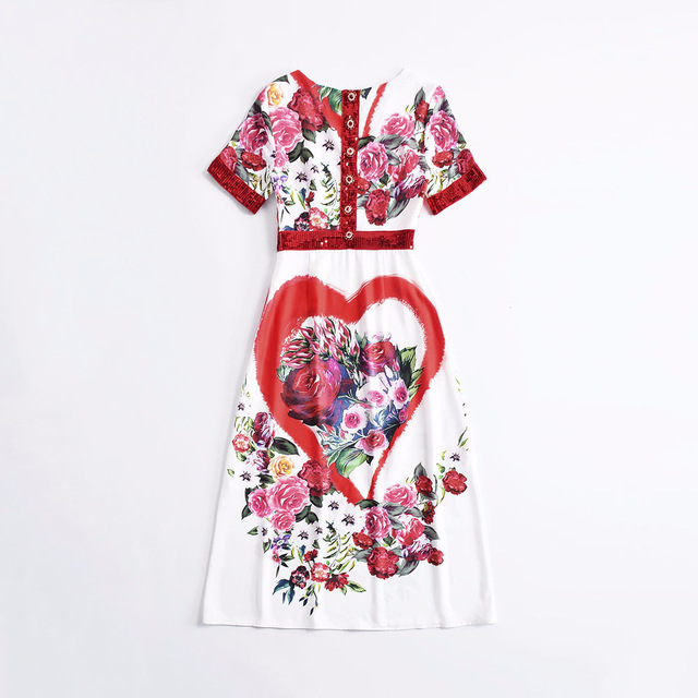Floral Print Sequined Casual Mid Calf Dress