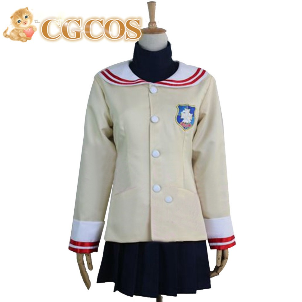 CGCOS Free Shipping <font><b>Cosplay</b></font> Costume <font><b>CLANNAD</b></font> Girl's Shcool Uniform New in Stock Halloween Christmas Party Uniform image