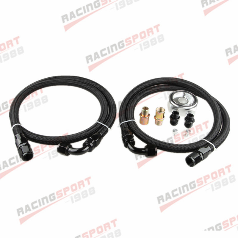 Aluminum Engine Oil Filter Adaptor Kit+Male Fitting+2 x Nylon Cover Braided LineAluminum Engine Oil Filter Adaptor Kit+Male Fitting+2 x Nylon Cover Braided Line