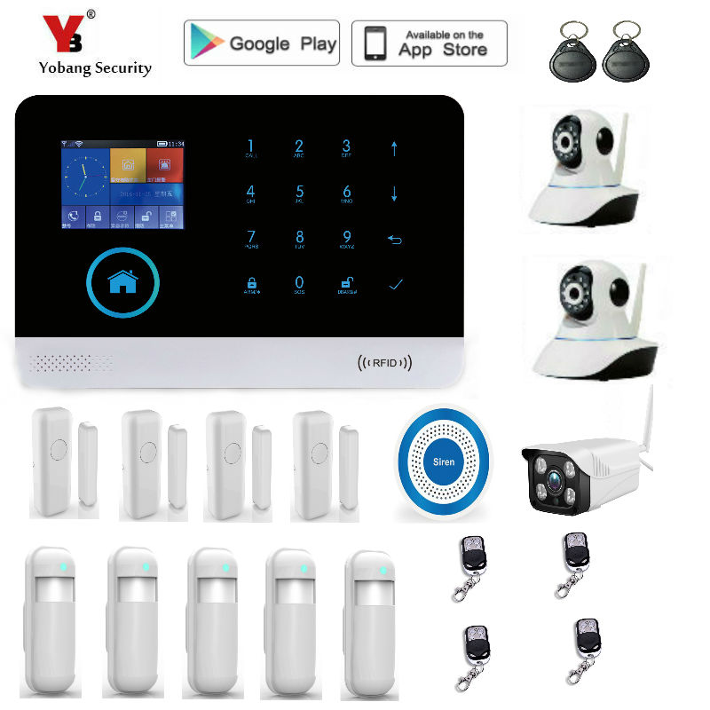 Yobang Security 2.4 inch WIFI GSM Alarm Systems WIFI+GSM Wifi Automation GSM Alarm System Home Protection WIFI GSM Alarm System yobang security wifi gsm 3g alarm systems security home gsm alarm system app control wirelress alarm diy kit