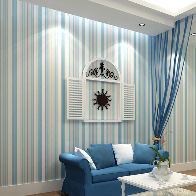 Mediterranean Cartoon Wood Striped Kids Room Wallpaper For: Modern Fashion Vertical Striped Blue Wallpaper Roll For