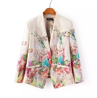 2016 New Print Blazer Women Floral Single Button Blazer Suit Jacket Cardigan Casual Slim Vintage Blazer