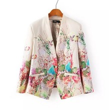 2017 New  Print Blazer Women Floral Single Button Blazer Suit Jacket Cardigan Casual Slim  Vintage Blazer Coat Women  X03