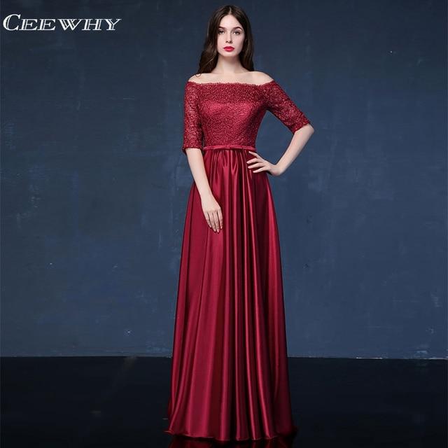 cd2b95d1d9e15 US $57.68 25% OFF CEEWHY Boat Neck Half Sleeves Elegant Evening Dresses  Long 2018 Mother of the Bride Dress Formal Party Dress Vestido de Festa-in  ...