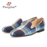 Piergitar 2019 candy colors plaid women flat shoes ballet flats slip on women shoes handmade woman's loafers zapatos muje