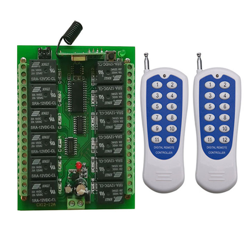 12CH Wireless Transceiver Module And 12 Button Remote Control With Decoding