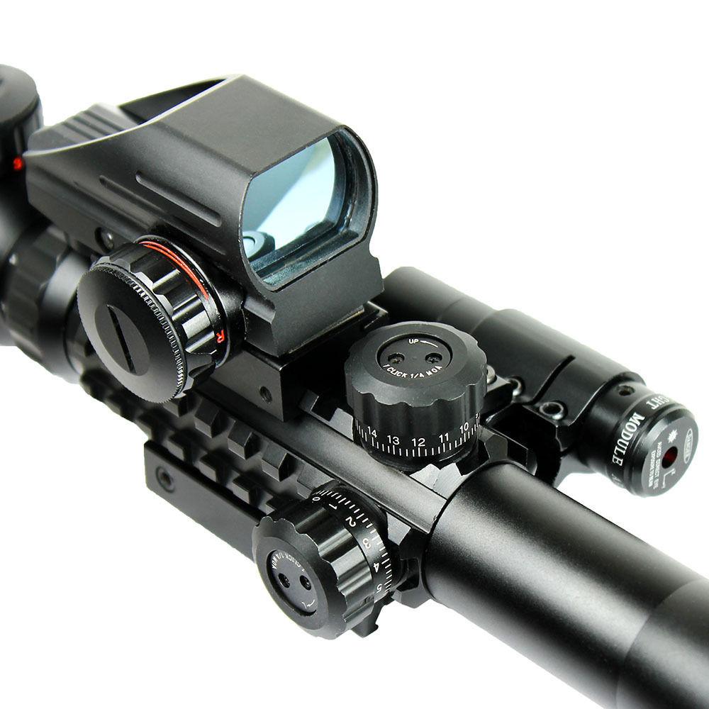 1set Riflescope Hunting Optics Rifle 3-9X40 Illuminated Red/Green Laser Riflescope W/ Holographic Dot Sight Airsoft Weapon Sight