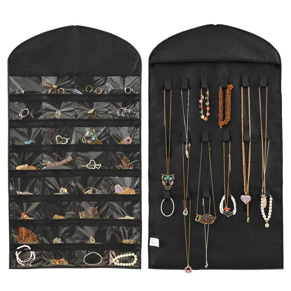 Hot Hanging Storage Necklace Ring Earring  Jewelry Organizer 32 Pockets 18 Hook Double Sided Holder Wardrobe Display Large Bag