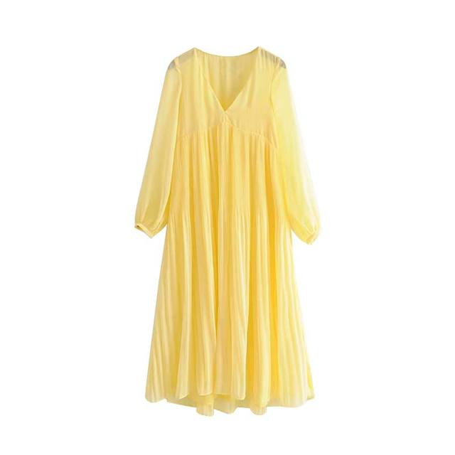 Women Solid Yellow Ankle Length Dress V Neck Pleated Long Sleeve Chiffon Casual A Line Dresses Vestidos Qc033