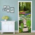 Лесной цветок трава маленькая дорога DIY самоклеющиеся наклейки на дверь ПВХ водонепроницаемый настенной гостиной кухни двери стикер домаш...