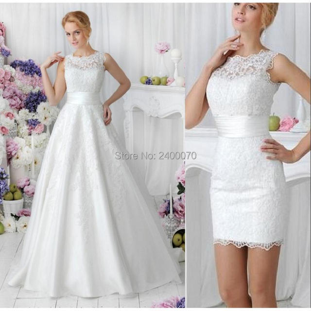 2 in 1 style vintage lace country wedding dresses with detachable
