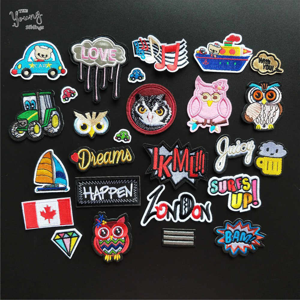 Mix Hot melt adhesive Patches Embroidered Cartoon Letter Owl Car Truck Sailboat Sewing Appliques DIY Children Clothes Stickers