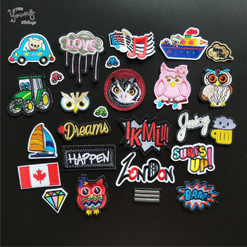 Mix Hot melt adhesive Patches Embroidered Cartoon Letter Owl Car Truck Sailboat Sewing Appliques DIY Children Clothes Stickers image