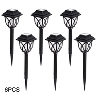 6 Pcs Solar Powered Yard Black Easy Install Lawn Lamp Outdoor Waterproof LED Bulb Durable Landscape Light Garden Energy Saving