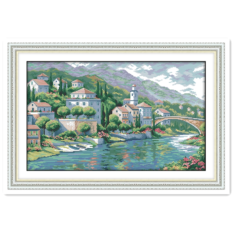 River Town Chinese Counted Cross Stitch Patterns Kits DMC Cross Stitch Fabric kit mezzo punto Home Decor Embroidery Cross Sets