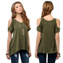 2019 Summer Fashion Women's Cotton Sexy Off Shoulder Casual Loose Short Sleeve Solid T-Shir