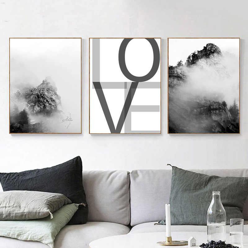 Nordic Minimalist Wall Decor Misty Mountain Foggy Forest Canvas Art  Funny Quotes Posters Painting Black White Modern Home Decor