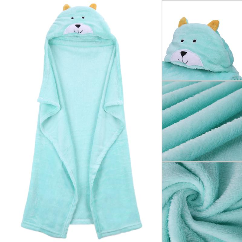 Baby Bath Towel Green Lovely Cartoon Animals Fleece Kids Hooded Cloak Bathrobe Soft Flannel Baby Receiving Blanket Warm Pajamas