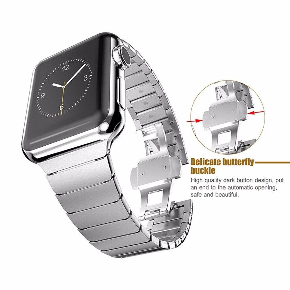LNOP edelstahl strap für apple watch 42/38mm band iwatch 4/3/2/1 44/ 40mm armband schmetterling schließe Luxus metall armband
