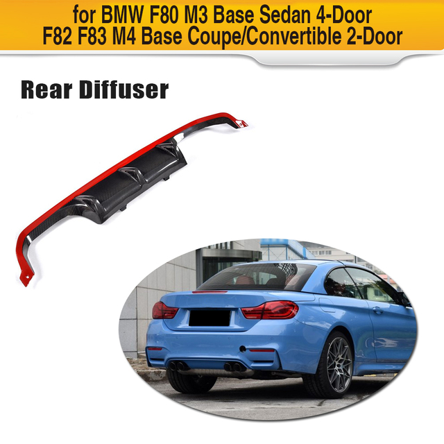 Us 157 47 14 Off 4 Series Carbon Fiber Rear Bumper Lip Spoiler Diffuser For Bmw F80 M3 F82 F83 M4 14 17 Standard And Convertible With Red Style In