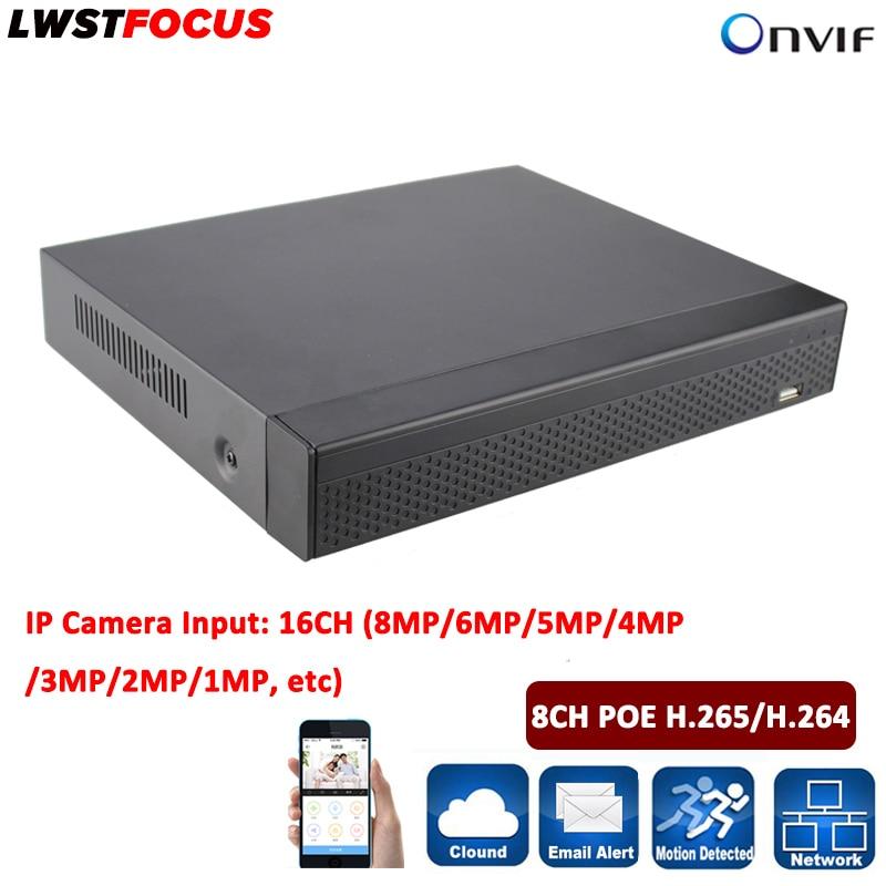 8CH POE H.265/H.264 NVR видеонаблюдения DVR 16CH видеорегистратор Регистраторы Onvif Max 6 ТБ FreeIP вид POE 8 независимых POE Интерфейс