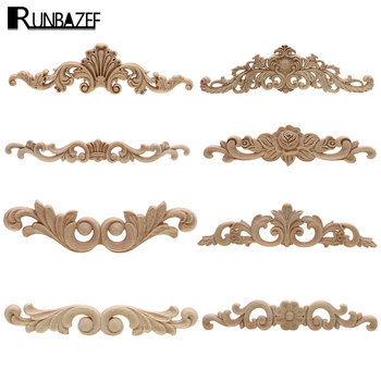 Rectangle Carving Natural Wood Appliques For Furniture Cabinet Unpainted Wooden Mouldings Decal Vintage Decoration Accessories - discount item  25% OFF Home Decor