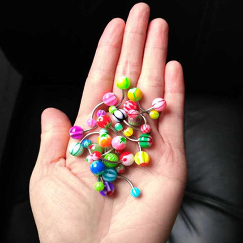 100 סיטונאי 16 גרם יח'\אריזה משקולת בננת טבעת כפתור טבור טבעת בטן שני כדורים לנשים תכשיטי פירסינג